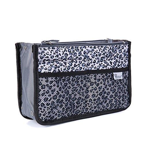 Periea Purse Organizer Insert Handbag Organizer - Chelsy - 28 Colors Available - Small, Medium or Large (Silver Leopard Spots, Small)