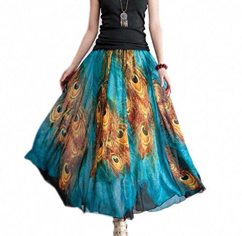 Afibi Women Full/Ankle Length Blending Maxi Chiffon Long Skirt Beach Skirt (XXX-Large, Design R)