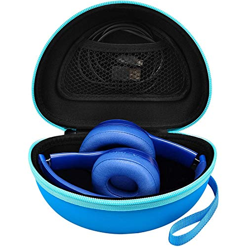 Headphone Case Compatible with Beats Solo 3/ Beats Solo Pro/Beats Solo 2/ Beats Studio Wireless Noise Cancelling On-Ear Headphones. Bluetooth Headset Holder Fits for USB Cable -Blue (Box Only)