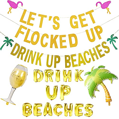 Drink Up Beaches Party Supplies Drink Up Beaches Banner Plus Flamingo Let's Get Flocked Up Banner and Drink Up Beaches Balloon Wine Goblet Cup Balloon Coconut Plam Balloon for Hawaiian Luau Party Decorations Hawaii Theme Party Decor Tropical Summer Beach Party Supplies