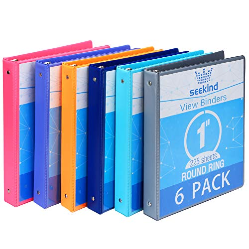 1 Inch 3 Ring Binders,SEEKIND View Binders,Holds Up to 8.5'11' Paper,Customizable Clear Cover,for Home,Office, and School Supply,6 Pack