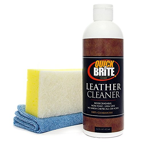 Quick N Brite Leather Cleaner with Sponge and Cloth for Car Seats, Couches, Chairs, Boat Seats, Vinyl, Tennis, Golf Shoes, Boots, 16 oz, 1-Pack