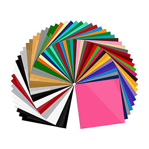 """55 Pack Premium Permanent Self Adhesive Vinyl Sheets-Assorted Colors (Glossy, Matte, Brushed) for Other Cutters & Decals 12""""x12"""""""