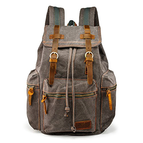 GEARONIC TM 21L Vintage Canvas Backpack for Men Leather Rucksack Knapsack 15 inch Laptop Tote Satchel School Military Army Shoulder Rucksack Hiking Bag Gray