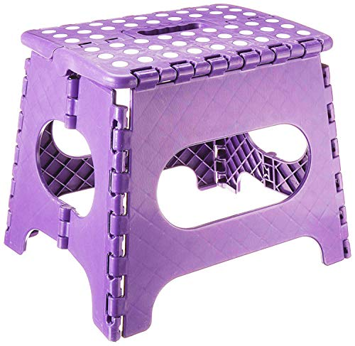 Folding Step Stool - Lightweight 11 Inch Step Stool is Sturdy Enough to Support Adults and Safe Enough for Kids Opens Easy with One Flip. Great for Kitchen, Bathroom, Bedroom, Kids or Adults. (Purple)