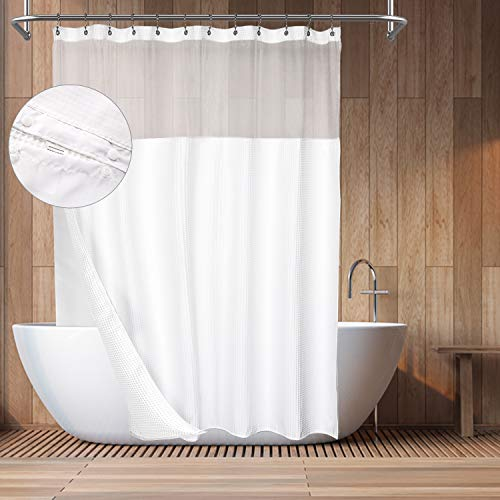 Hotel Style Cotton Shower Curtain with Snap-in Fabric Liner, Mesh Window Top, Honeycomb Waffle Weave Cotton Blend Fabric, Washable, White, 71x72 Inches