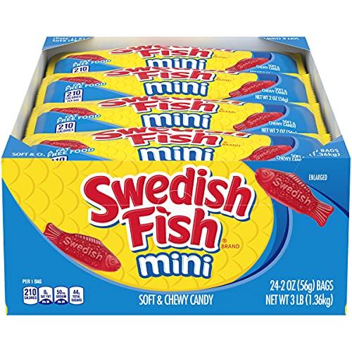 SWEDISH FISH Mini Soft & Chewy Candy, 24 - 2 oz Bags