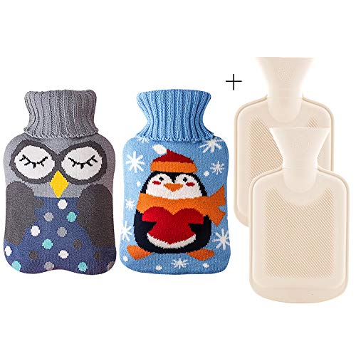 Rubber Hot Water Bottle with Cover - Classic Hot Water Bag for Pain Relief, Neck and Shoulders, Feet Warmer, Menstrual Cramps, Hot and Cold Therapy - Cartoon Penguin and owl Pattern(1 L*2)