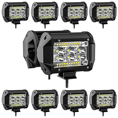 San Young 78W LED Pods Light Bar 10PCS 4 inch LED Light Pods Spot Offroad Lights Bar Combo Beam, high Brightness led Light Bars for Trucks Off-Road SUV Tractor Rv ATV UTV Boat Lighting