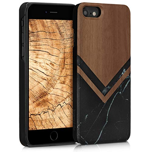 kwmobile Wood Case Compatible with Apple iPhone 6 / 6S - Non-Slip Natural Solid Hard Wooden Protective Cover - Wood and Marble Black/White/Dark Brown
