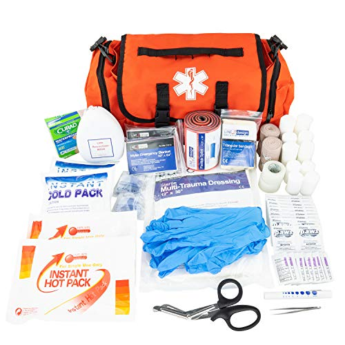 LINE2design Emergency Fire First Responder Kit - Fully Stocked EMS Supplies First Aid Rescue Trauma Bag - EMS EMT Paramedic Complete Lifeguard Medical Supplies for Natural Disasters - Orange