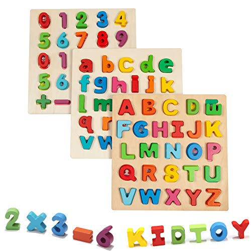 Jamohom Wooden Puzzles for Toddlers, Lower Case Letter and Numbers Learning Puzzle Board Early Educational Toy for Kids Ages 2 3 4 5, Toddler Learning Puzzle Toys Set for Boys and Girls (3-Pack)