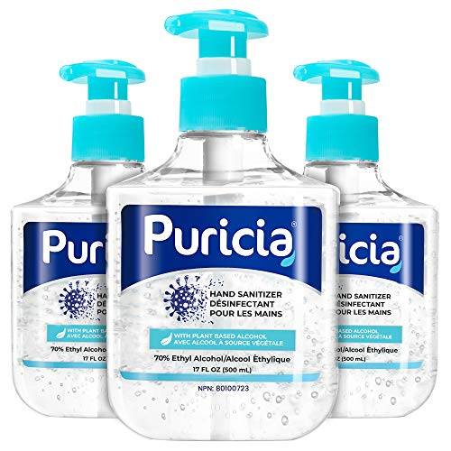 3 x 500 mL - Puricia Alcohol Based Hand Sanitizer and Moisturizing Gel - 70% Ethyl Alcohol Disinfectant 17 Oz Large Bottle with Pump - Bulk Pack of 3 (1.5 L/51 Oz)