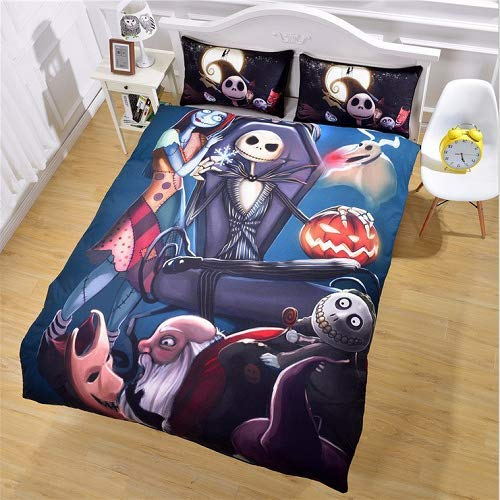 StarFashion 3D Nightmare Before Christmas Duvet Cover Sets, Scarecrow Style Sally and Jack Skellington Bedding Set,Christmas Home Bedroom Decoration,Microfiber Fabric,No Comforter, 3pcs (King)