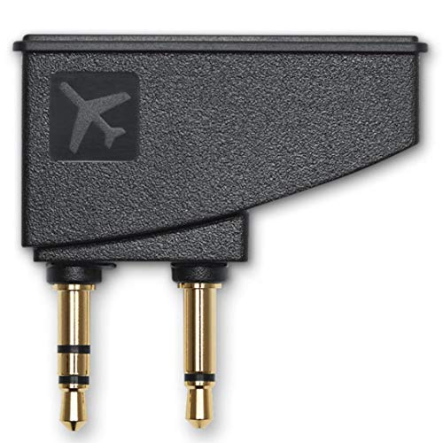 QC15 Airplane Headphone Adapter Airplane Flight Converter Replacement for Bose QuietComfort 2 QC3 QC15 QC25 QC35 SoundLink Soundtrue AE2 AE2W and More Headphones with Golden Plated 3.5mm Jack (Black)