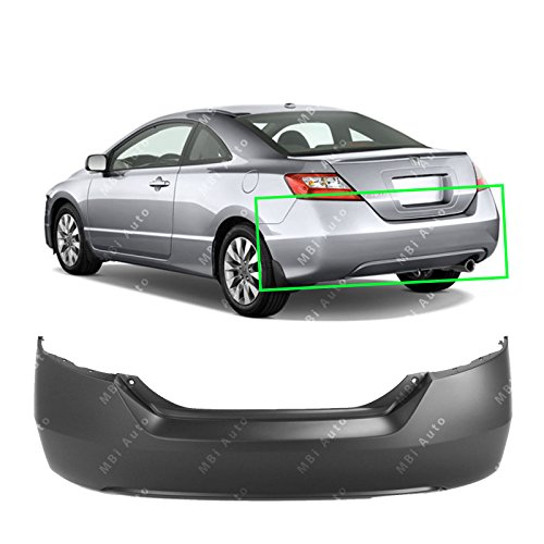 MBI AUTO - Primered, Rear Bumper Cover Replacement for 2006-2011 Honda Civic Coupe 2-Door 06-11, HO1100234