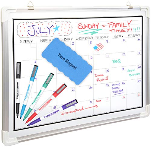 White Board Calendar for Wall | Dry Erase Monthly Planner | 24X18' | 5 Magnetic Markers & Large Eraser | Stain Resistant Surface | Hanging Whiteboard Organizer for Home Office, Kids Chore, Classroom