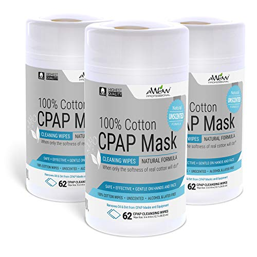 AWOW Professional CPAP Mask Cleaning Wipes, 186 Unscented Cotton CPAP Mask Wipes   Perfect for Your CPAP Accessories Kit
