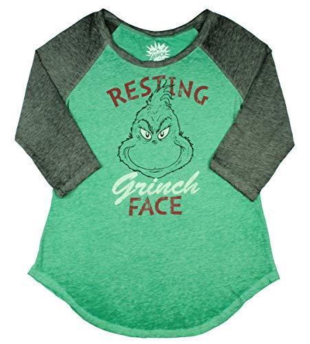 Dr. Seuss The Grinch Junior's Resting Grinch Face Raglan T-Shirt (Large)