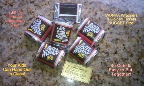 Wonkamania (30) Nugget Sized-Willy Wonka Chocolate BAR Wrappers & Golden Tickets-NO Chocolate Included