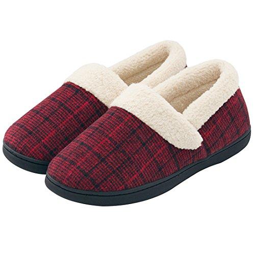 HomeIdeas Women's Woolen Fabric Plaid House Slippers, Anti-Slip Autumn Winter Indoor/Outdoor Shoes (7-8 B(M) US, Wine)
