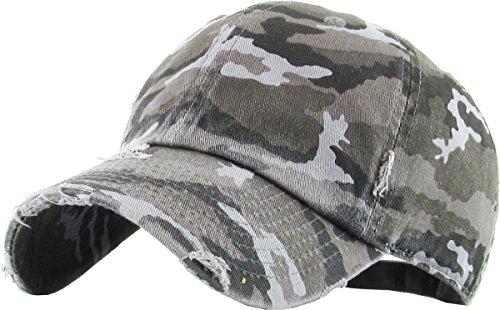 KBETHOS Vintage Washed Distressed Cotton Dad Hat Baseball Cap Adjustable Polo Trucker Unisex Style Headwear (Vintage) Black Camo Adjustable