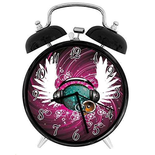 22yiihannz Stylish Modern Alarm Clock-3.8inch,Disco Ball with Headphones and Angel Wings Vibrant Swirl with Circles-No Ticking,Soft Night Light,Good Gift for Decorating The Room