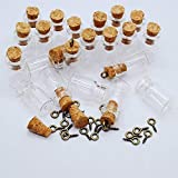 Healthcom 50pcs 0.5ML Vials Clear Glass Bottles Mini Tiny Jars Bottles with Corks Miniature Glass Bottle With Cork Empty Sample Jars Small,Arts Crafts,Party Favors,50 Bottles + 50 Screws