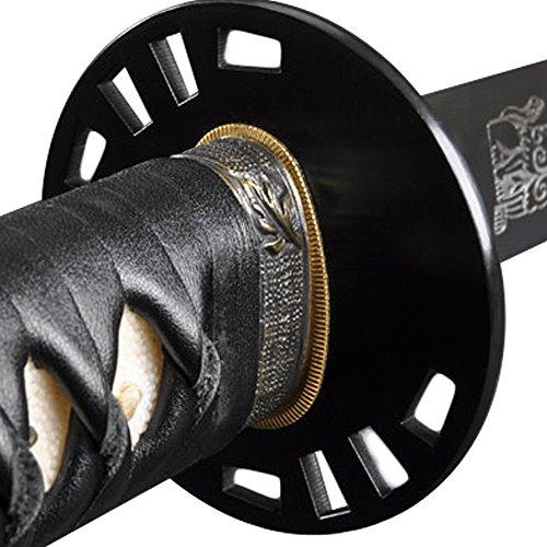 Handmade Sword - Samurai Katana Kill Bill Bride Sword, Practical, Hand Forged, 1095 Carbon Steel, Clay Tempered, Full Tang, Sharp, Black Leather Ito Handle, Kill Bill Lion Engraving on Blade,Scabbard