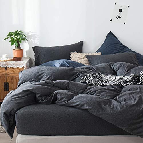 FOSSA Jersey Knit 3 Pieces Duvet Cover Set Super Soft Comfortable T-Shirt Heathered Cotton Charcoal Black Queen