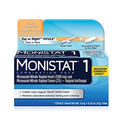 MONISTAT 1-Dose Yeast Infection Treatment, 1 Ovule Insert & External Itch Cream
