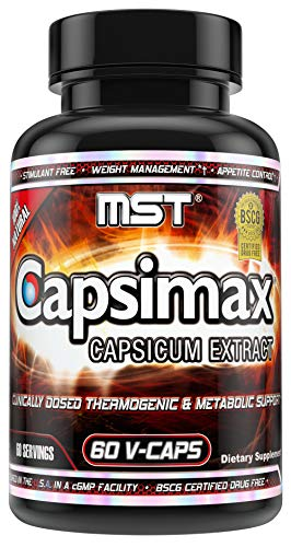 Capsimax Supplement 100mg V Capsules, 60 Servings by MST - Clinically Dosed Weight Management, Thermogenic, Appetite Control, Calorie Burning, Metabolic Health, Stimulant Free. BSCG Certified