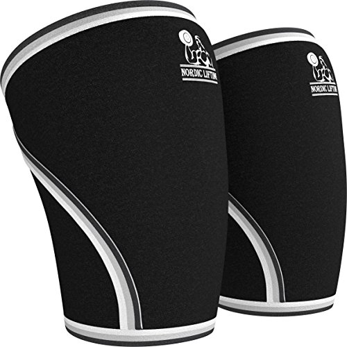 Knee Sleeves (1 Pair) Support & Compression for Weightlifting, Powerlifting & CrossFit - 7mm Neoprene Sleeve for the Best Squats - Both Women & Men, Black, Medium