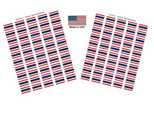 Made in USA! 100 Country Flag 1.5' x 1' Self Adhesive World Flag Scrapbook Stickers, Two Sheets of 50, 100 International Sticker Decal Flags Total (Thailand)