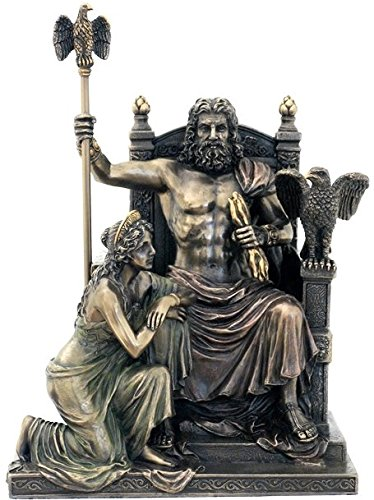 US 11 Inch Zeus and Hera at The Throne Cold Cast Bronze Figurine