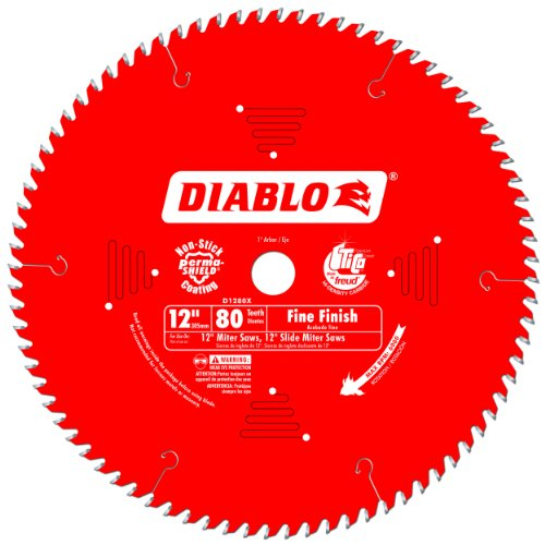 Freud D1280X Diablo 12-Inch 80 Tooth ATB Crosscutting Saw Blade with 1-Inch Arbor, Red