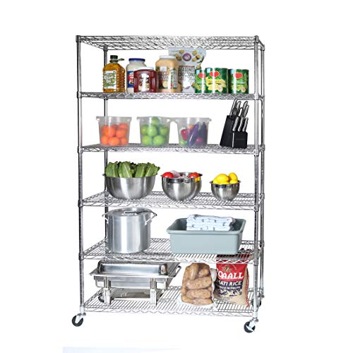Seville Classics UltraDurable Commercial-Grade 6-Tier NSF-Certified Wire Shelving with Wheels, 48' W x 18' D, Plated Steel
