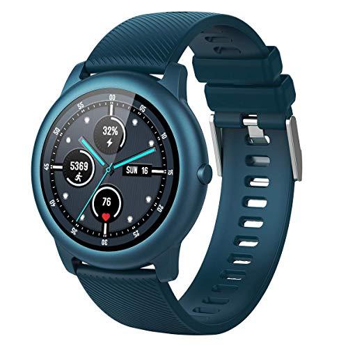 ELEGIANT Smart Watch, Fitness Tracker with Heart Rate Monitor,IP68 Waterproof Pedometer Exclusive 4 Dials+1Custom Dial, Smartwatch with Sleep Monitor for Men,340mAh,Bluish