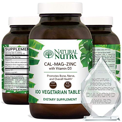 Natural Nutra Calcium Magnesium Zinc Supplement with Vitamin D3 for Bone Strength, Health and Healing, Gluten Free and Sugar Free, Essential Mineral Complex - 100 Vegetarian Tablets