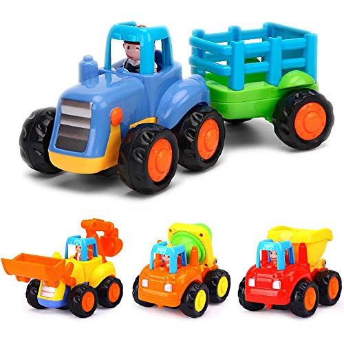 Yiosion Push and Go Friction Powered Cars Construction Vehicles Toy Set Tractor Bulldozer Mixer Truck Dumper for 1 2 3 Years Old Baby Toddlers Boys Gift