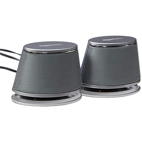 Amazon Basics USB-Powered PC Computer Speakers with Dynamic Sound | Silver