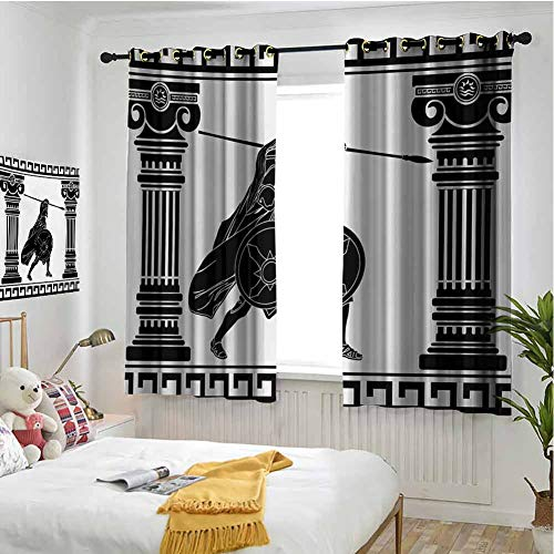 hengshu Toga Party Black Out Window Curtain 2 Panel Black Warrior Silhouette Ready to Attack Between Ancient Ionic Palace Columns Living Room Curtains for Bedroom W42 x L36 Inch Black White