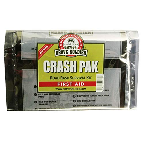 Brave Soldier Crash Pak First Aid Kit – Antiseptic Healing Ointment, Bandages, Pain Relief - Road Rash Survival Pack, Emergency Kit for Outdoor Cycling, Mountain Biking, Camping, Hiking, Travel