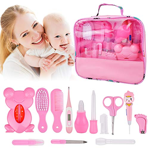Baby Grooming Healthcare Kit 14 Set, Baby Care 13 In 1 Newborn Essentials Stuff Shower Gifts Nail Clippers Trimmer Products, Comb Brush, Thermometer, Dispenser, Nursery Care Kits for Newborn Boy Girls