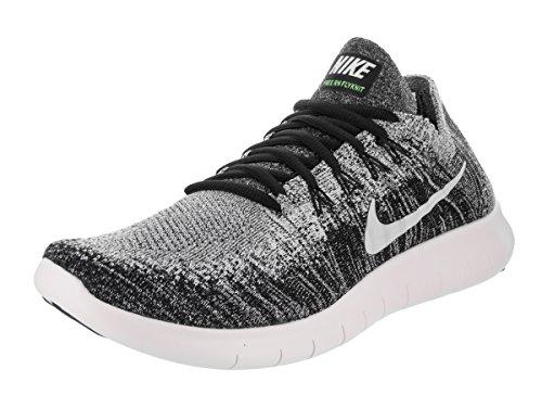 Nike Mens Free RN Flyknit 2017 Running Shoe Black/White-Volt 9.5