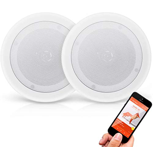 """Pyle Pair 8"""" Bluetooth Flush Mount In-wall In-ceiling 2-Way Universal Home Speaker System Spring Loaded Quick Connections Polypropylene Cone Polymer Tweeter Stereo Sound 250 Watts (PDICBT852RD) White"""