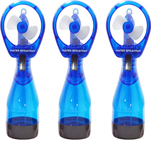 3 Blue Handheld Water Mist Spray Fan, with Portable Mister Bottle for Outdoor Cooling and misting, Personal Hand Held Misters Fans Comes with Battery, Perfect for Outside, Hiking, Sports.