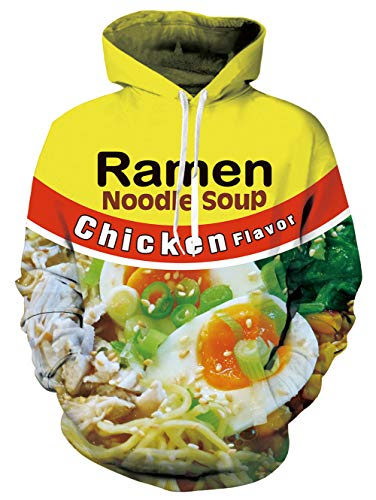 3D Crewneck Ramen Hoodie Chicken Noodle Soup Flavor Graphic Sweatshirts Bright Yellow Red Color Hooded Pullover Drawstring Tops for Youth & Adult Boys Girls Birthday Gift