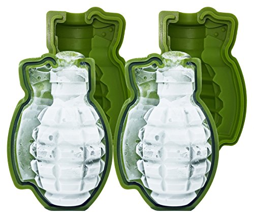 Skaxi 3D Grenade Silicone Mold (Set of 2), Large Ice Cube for Whiskey, Silicone Molds for Fat Bombs, Ideal for Baking | Perfect Gift for the Holidays