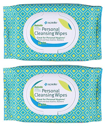 Epielle Personal Cleansing Wipes with Natural Ingredients - Flushable Wipes Tissues Towelettes Travel Size, Daily Use, Gentle - 36ct (Sheets) per pack, Total 2 packs Toilet Paper Replacement